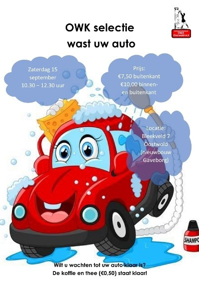 Komt u ook 15 september uw auto laten wassen?